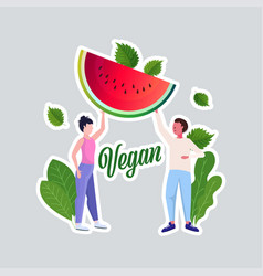 Man woman couple holding watermelon healthy vector