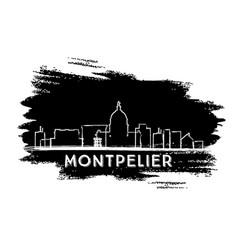 Montpelier skyline silhouette hand drawn sketch vector