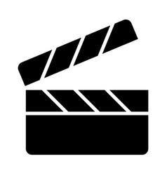 Movie clapper board silhouette icon vector