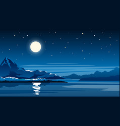 night mountain lake with full moon vector image