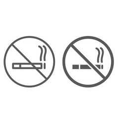 no smoking line and glyph icon forbidden and stop vector image