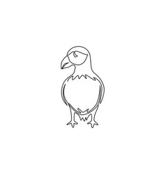 one single line drawing funny puffin vector image