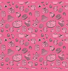 pattern of collection set with teapot coffee vector image vector image