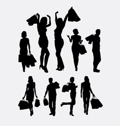 People male and female shopping silhouettes vector image