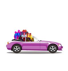 Pink modern cartoon cabriolet car full of gift vector