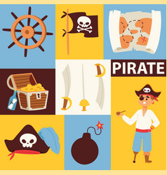 piratic pirating chest and flag skull vector image