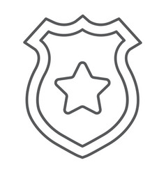 Police badge thin line icon police and sheriff vector