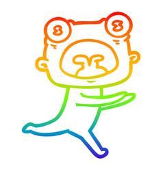 Rainbow gradient line drawing cartoon weird alien vector