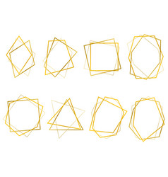 realistic 3d detailed golden polygonal frames thin vector image