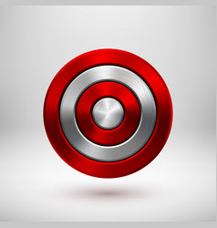 Red technology circle metal badge vector