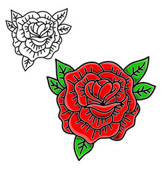 Rose in tattoo style isolated on white background vector
