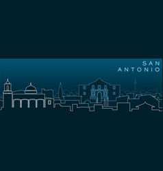 San antonio multiple lines skyline and landmarks vector