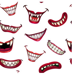 Seamless pattern with creepy monster smiles on vector