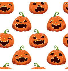 seamless pattern with different halloween pumpkins vector image