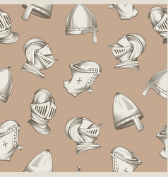 seamless pattern with medieval helmets sketch vector image