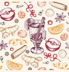 Seamless pattern with mulled wine and spices vector