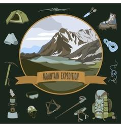 Set mountaineering icons vector