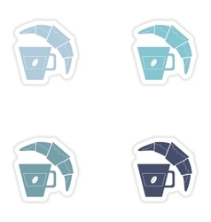 Set of paper stickers on white background coffee vector