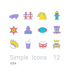 set simple line icons usa vector image