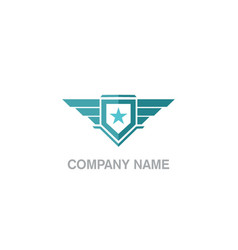 shield wing star emblem logo vector image
