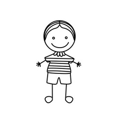 silhouette hand drawing cute boy icon vector image