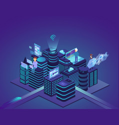 smart city of high technology control system and vector image