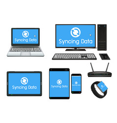 smart device and computer syncing vector image