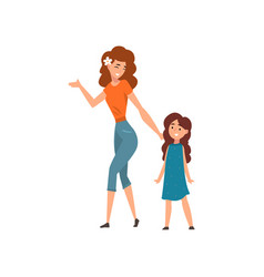 Smiling mother walking with her daughter mom vector