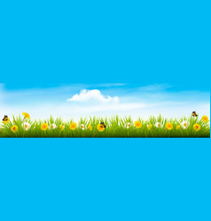 Spring nature landscape banner with flowers and vector