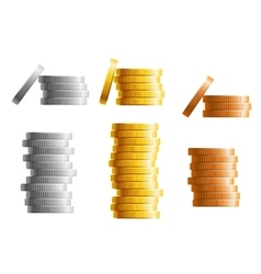 Stacks gold silver and bronze coins vector