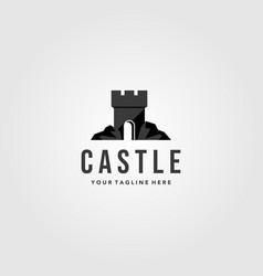 stone castle logo vintage design vector image