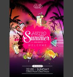 Summer cocktail party poster design cocktail menu vector