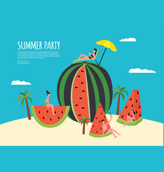 Summer party banner with watermelon and people vector