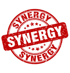 Synergy red grunge stamp vector