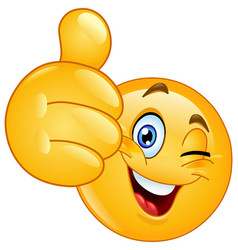 thumb up winking emoticon vector image