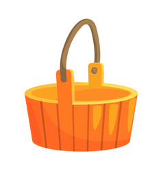 Traditional wooden bucket with handle part of vector
