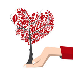 tree in human hand - earth day symbol vector image