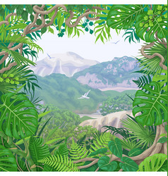tropical frame on green landscape vector image