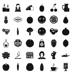 Vegetarian shop icons set simple style vector