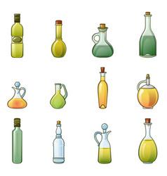 Vinegar bottle icons set cartoon style vector