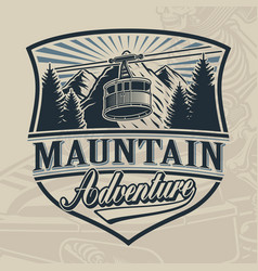Vintage design a ski lift with mountains vector