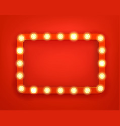 Vintage frame with bright lightbulbs bright retro vector