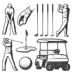 Vintage golf elements collection vector