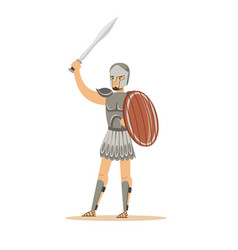 Warrior character man in historical armor and vector
