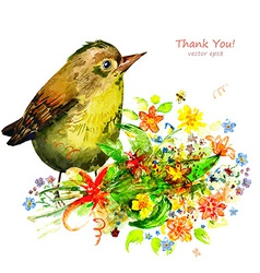 watercolor painting cute bird with flowers vector image