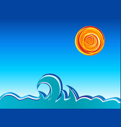 Waves and sun vector