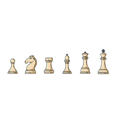 white chess pieces in a row vector image