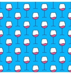 Wine glasses blue pattern vector image