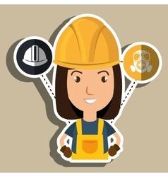 Woman worker helmet gloves vector
