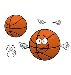 Cartoon happy basketball ball mascot character vector image